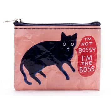 I'm Not Bossy, I'm the Boss Coin Purse in Pink with Purple Sassy Kitty