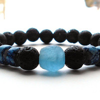 Mens Blue Bracelet, Men's Lava Rock, Men's Krobo Bracelet, Men's Bracelet, Men's Black Bracelet, Men's Jewelry, Gift for Him