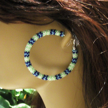 Hoop Earrings Beaded In Sea Hawks Colors Glass Seed Beads/Earrings/Stud Earrings/Gifts For Her/Beaded Earrings/Jewelry