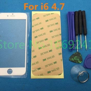 1set new White / Black Replacement LCD Front Screen Glass Lens for Apple iPhone 6 4.7 & Tools & 3M sticker