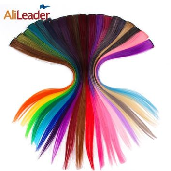HAIR AliLeader Made 20 Colors 50CM Single Clip In One Piece Hair Extensions Synthetic Long Straight Ombre Grey Blonde Red Hair Pieces