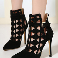 Black Cut Out Caged Pointed Heeled Ankle Boots