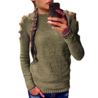 Venlilulu Autumn Knitted Sweater Women Pullover Sexy Sweaters Off Shoulder Hole Winter Warm Pullovers Female Tops Jumpers