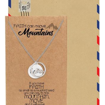 Emery Faith Necklace for Women, Mountain Pendant with Inspirational Quote, Silver Tone