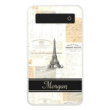 Vintage Paris French Personalized Battery Bank Power Bank