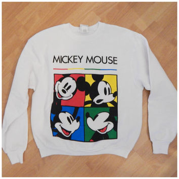 Vintage 90s Mickey Mouse Disney Color Block Hip Hop Sweatshirt Sweater XLarge