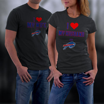 Bills,Buffalo Bills Couples Shirt,  Bills Matching Couples tshirts,I love my Husband and the Bills Shirt,Wedding T Shirts,Valentine Gifts