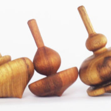 Set of 5 wooden spinning tops , Spinning Top, Woodturning, Wooden spinning top, Wooden toy for kids, Classic toy