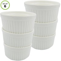 Evelots Ramekins-Glazed Porcelain-Oven Safe-6 Ounce-Baking/Pudding/Custard-Set/6