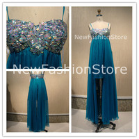 A Line  Sweetheart Neckline Strapless Beading High Low Prom Dress