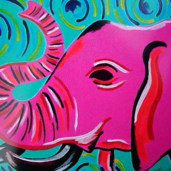 8x10 Print Pink Elephant with Colorful Swirls Original Acrylic Painting Print Gift Idea Colorful Animals Painting Lustre Wall Decor Art