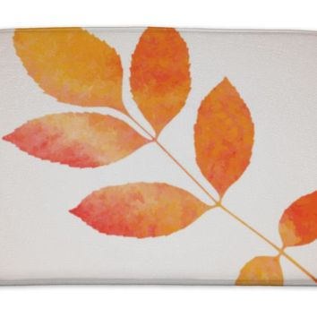 Bath Mat, Orange Watercolor Painted Ash Tree Leaf