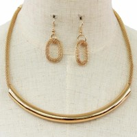 "16"" gold mesh tube necklace 1.50"" earrings"