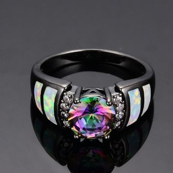 Tophatter : sz 7, 8, 9 Incredible Black Gold Filled Ring w/ Myst...