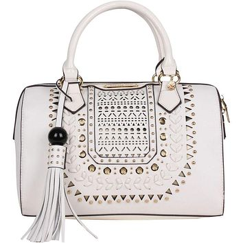 Anouska Braided Intricate Cut-Out Design Boston Shoulder Bag