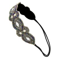Multi Color and Silver Seed Bead Headband