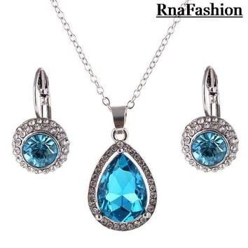RNAFASHION Jewelry Luxury Genuine Austrian Crystal Pendant Necklace Drop Earrings Set Silver Plated Bridal Jewelry Set For Women