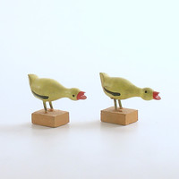 Vintage Miniature Wood Duck Figurines Easter Decoration Putz