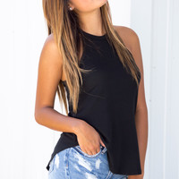 Ribbed Black Mock Tank
