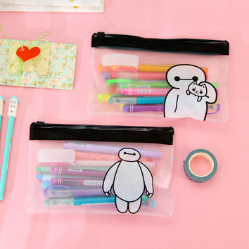 Cute Kawaii Cat Baymax Transparent PVC Zipper Pencil Case For Kids Student Creative Gift Korean Stationery Free Shipping 1102
