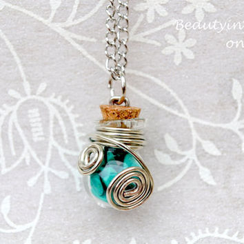 Wire Wrapped Necklace - Bottle Necklace - Stone Necklace - Boho Necklace - Bottle Pendant - Wire Wrapped Jewelry - Bottle Jewelry - Boho