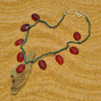 Shades of Red Sea Glass Circle and Ovals on Silk Cord Necklace