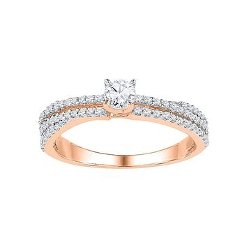 10k Rose Gold Women's Diamond Solitaire Bridal Ring