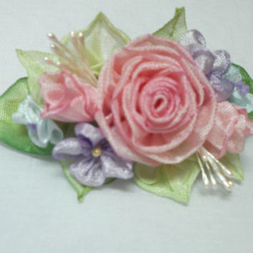 Barrette French Ribbon Work Ribbonwork Pink Roses Wedding Easter