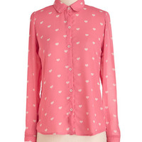 ModCloth Mid-length Long Sleeve Button Down One More Love Song Top