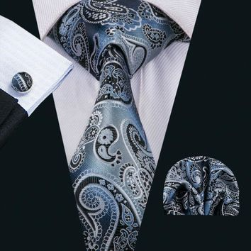 Barry.Wang Brand Men`s Tie 16 Styles Paisley Silk Jacquard Woven Necktie Handky Cufflink Set For Men`s Business Wedding Party