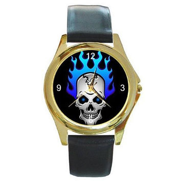 Punk / Gothic Skull with Blue Flame Hair on a Mens Gold Tone Watch with Leather Band
