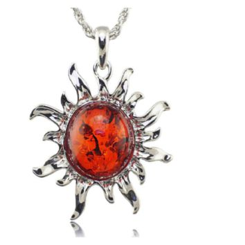 Fashion Hot Baltic Faux Amber Honey Sun Lucky Flossy Tibet Silver Pendant Necklace