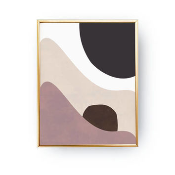 Pastel Art, Minimalist Poster, Textured Watercolor, Abstract Wall Art, Modern Shapes, Simple Decor, Pink Brown Poster, Geometric Textures