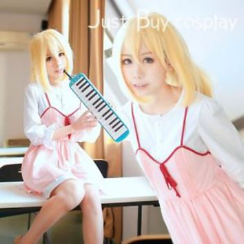 Anime Your Lie in April Miyazono Kaori Pink Dress White Shirt Cosplay Costume