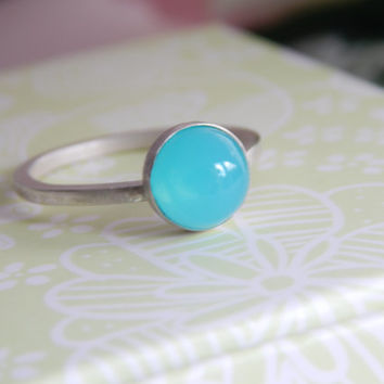 Sterling Silver Turquoise Bubble Ring - Stacking Ring - Midi Ring - Blue Resin Ring - Resin Ring - Blue Stone Ring - Aquamarine Ring