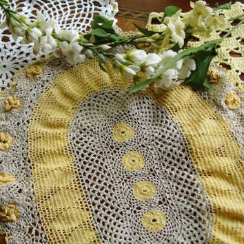 Doily Lot, Sunny Yellow Doily Lot, Lot of 3 doilies, hand crocheted doilies, Centerpiece doilies, Vintage Doilies, Country decor, hand made