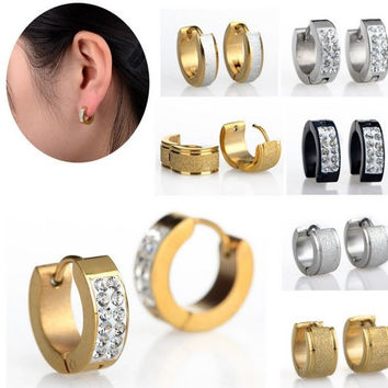 1pair Stainless Steel Silver Gold Plated Stud Earrings For Women Men's Ear Jewelry