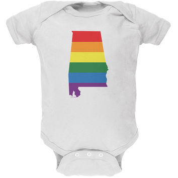Alabama LGBT Gay Pride Rainbow White Soft Baby One Piece
