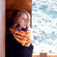Retro Floral Infinity Scarf, Mustard Yellow Polka Dot Scarf, Brown Red Yellow Dot Scarf, Wide Circle Scarf, Cute Retro Women Accessory,