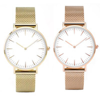 New Fashion Watch Golden Steel Quartz Movement Mesh Watches Women Dress Men Sports Famous Brand Wristwatches Relogio Males