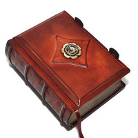 "Steampunk flower -Small steampunk  leather journal- vintage style, 4""x5.7"", 10x14.5cm, in gift box."