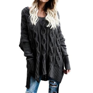 Long Loose Richly Textured Criss-Cross Knit Black Sweater
