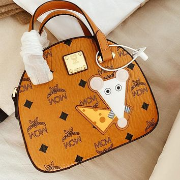 MCM Fashion Lady Lettering Embroidery Mouse Shopping Tote Shoulder Bag