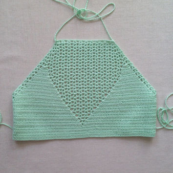 Crochet Crop Top Mint Halter Top Crochet Bikini Top Women Swimwear Crochet Bikini Top Bathing Suit Womens Gift Wife Gift Women Swimsuit