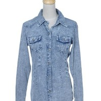 Anna-Kaci S/M Fit Grey Blue Grungy Washed Button Down Long Sleeves Denim Shirt