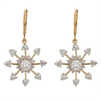 14k Gold Bonded Snowflake Drop Earrings with Clear CZ
