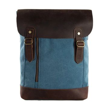 Waxed Canvas and Leather Casual Backpack - Blue