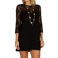 Black Lace Contrast Shift Tunic