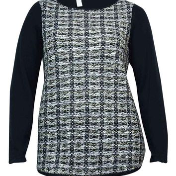 Style & Co. Women's Metallic Tweed Tunic Sweater
