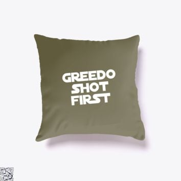 Greedo Shot First, Star Wars Throw Pillow Cover